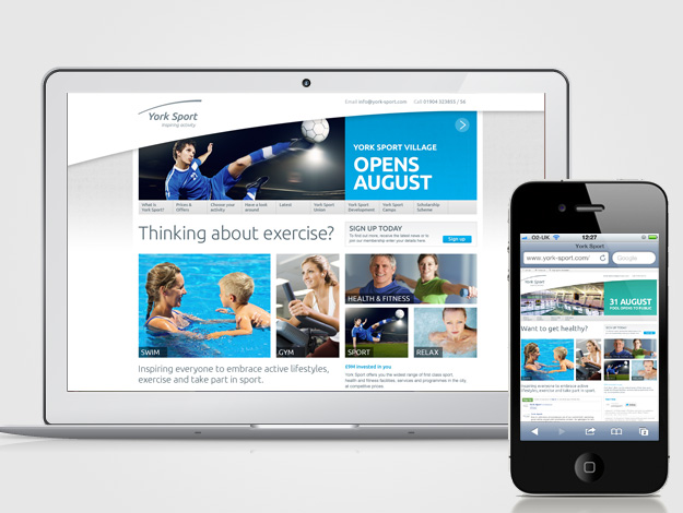 York Sport Website on presented on Macbook and iPhone